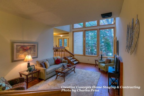 living room professionally staged