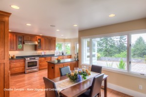 dining room and kitchen staged example