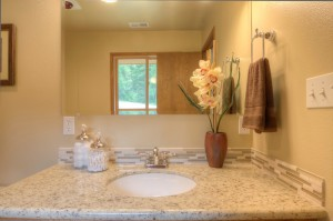 granite counter with tile mosaic