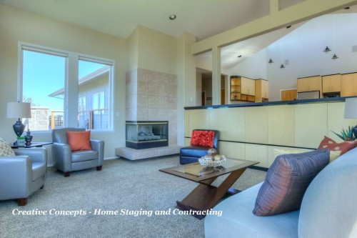 Once staged, furniture placement was no longer questioned and the fabulous view and open floor plan were featured beautifully.